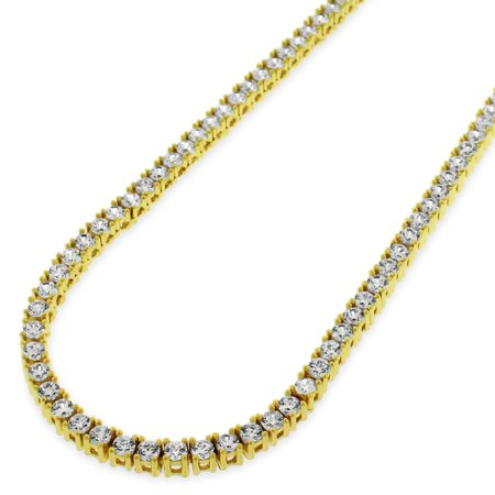 Sterling Silver 3mm Brilliant-Cut Clear Round CZ Solid 925 Yellow Gold Plated Tennis Necklace 20