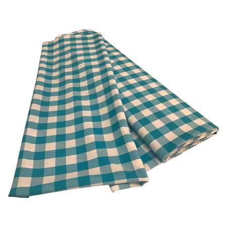 Blue Gingham Fabric (LA Linen CheckBolt-5Yrd-TurquoiseK40 5 Yards Gingham Checkered Flat Fold, White &)