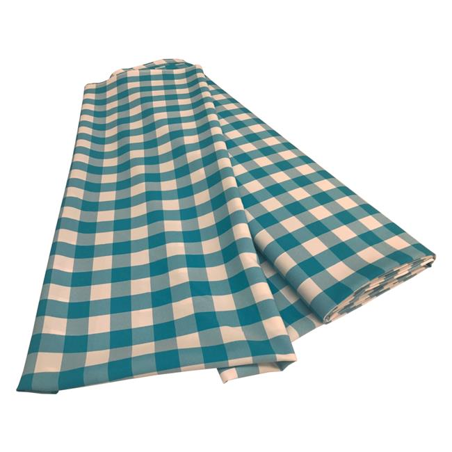 LA Linen CheckBolt-5Yrd-TurquoiseK40 5 Yards Gingham Checkered Flat Fold, White & Turquoise