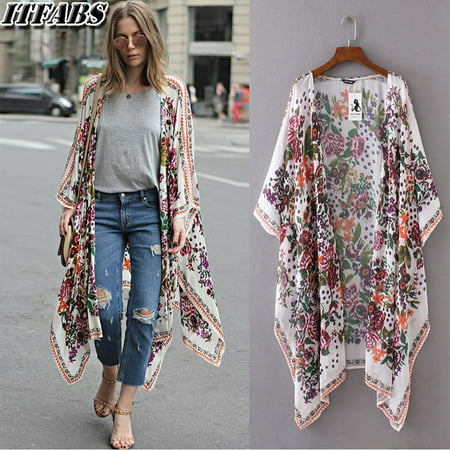 - Hot fashion Women Floral Print Loose Shawl Kimono Cardigan Long Top Cover up Shirt Blouse