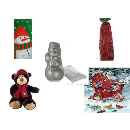 Christmas Fun Gift Bundle [5 Piece] - Assorted  Cello Bags With Ties -  Time Red Beaded Garland 18' Feet - Nordic Ware Snowman Cake Pan - HugFun Super Soft & Cuddly  Teddy Bear 17