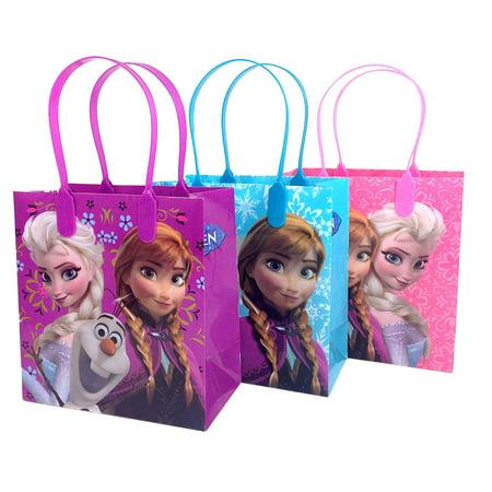 Disney Nickelodeon Marvel Birthday Goodies Gift Favor Bags Party Supplies - 12 Pieces (Frozen - Pink & Blue & Purple)