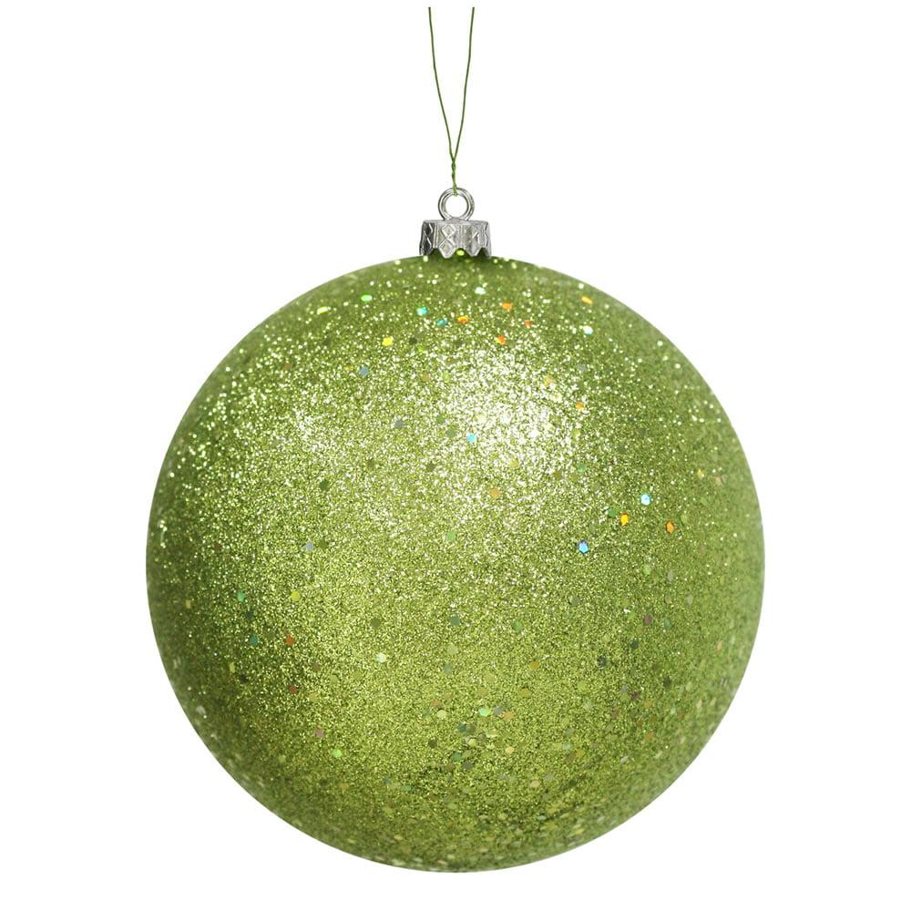 "Green Kiwi Holographic Glitter Shatterproof Christmas Ball Ornament 10"" (250mm)"