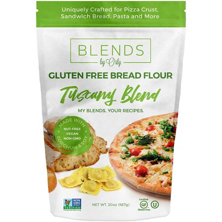 Premium Gluten Free Bread Flour - Baking Flour for Gluten Free Bread, Gluten Free Pizza Crust, Gluten Free Burger Buns, Gluten Free Pasta & GF Focaccia from Tuscany Blends by Orly 120 OZ (Pack of 6) (Gluten Free Focaccia Bread)