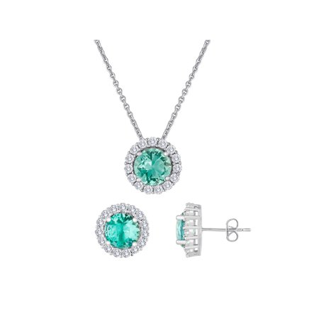 Citrine Pendant Set - Simulated Blue Topaz and CZ Fine Silver-Plated Boxed Set with Earring and Pendant, 18