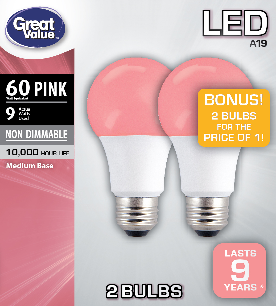 Great Value LED A19 (E26) Light Bulbs, 9W (60W Equivalent), Pink, 2-Pack