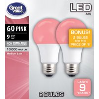 Great Value LED Light Bulb, 9W (60W Equivalent) A19 Lamp E26 Medium Base, Non-Dimmable, Pink, 2-Pack