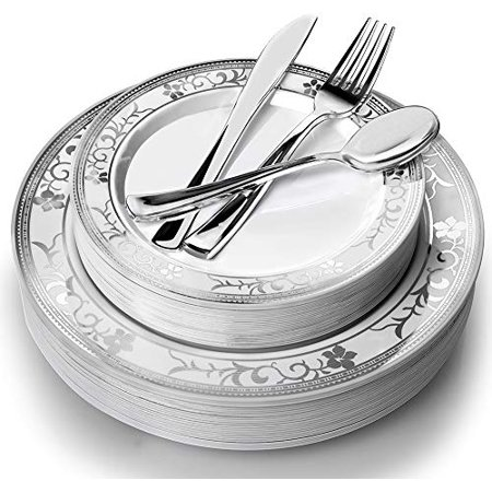 Floral Setting (Stock Your Home 125 Piece Place Setting- Silver Floral )