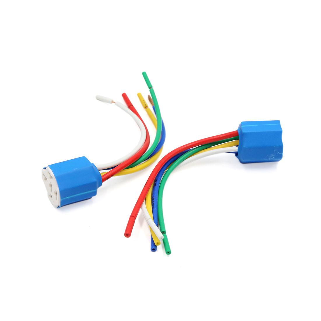 2pcs Universal Ceramic 5 Wires Car Headlight Fog Lamp Bulb Wiring Harness Socket