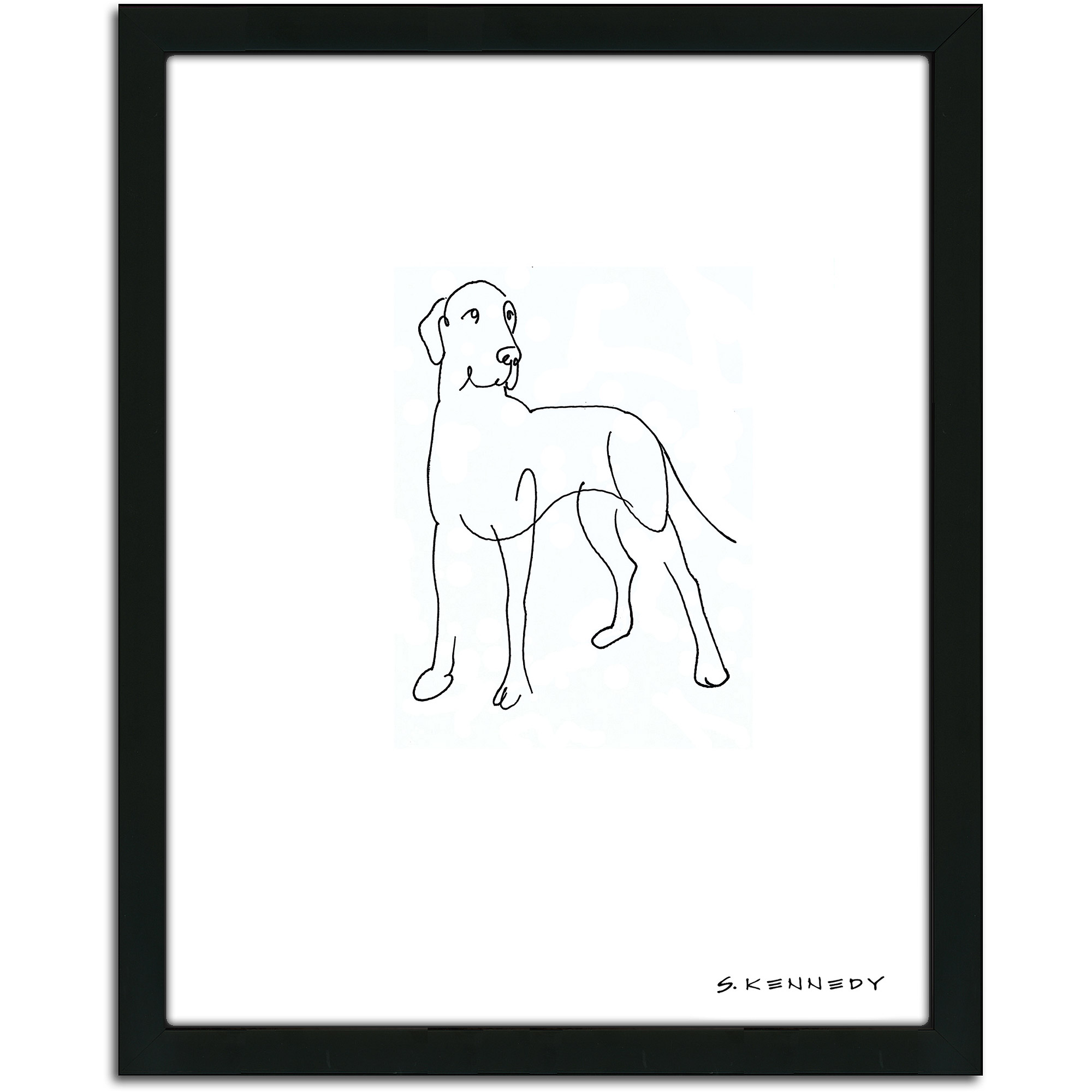 Personal-Prints Great Dane Dog Line Drawing Framed Art
