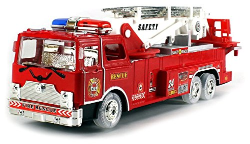 VT MFD Fire Rescue Zero Team Battery Operated Bump & Go Toy Fire Truck w  Flashing Lights,... by Velocity Toys