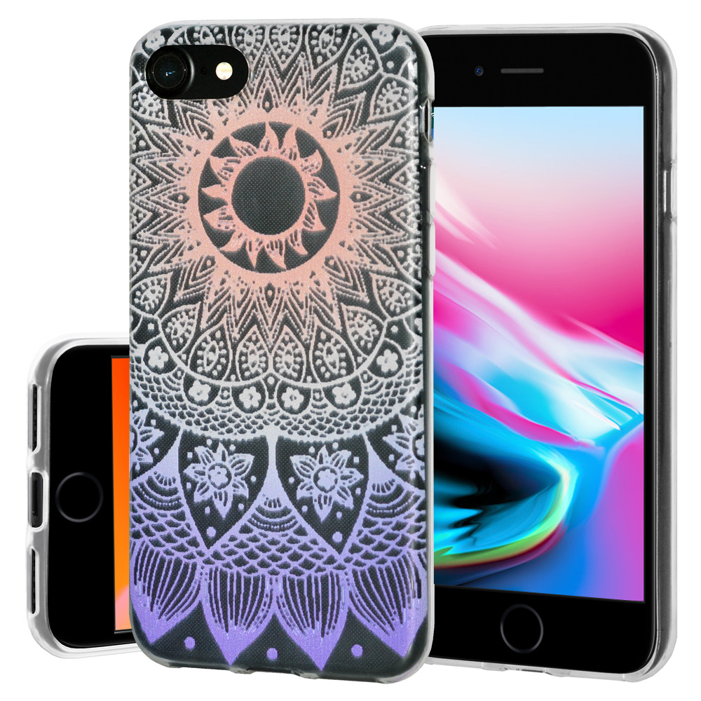 iPhone 8 Case, Soft Gel Skin TPU Cover Fashion Style Slim Designer Clear Back Cover - Mandala Ombre for iPhone 8 , Semi transparent, Flexible, Added Grip