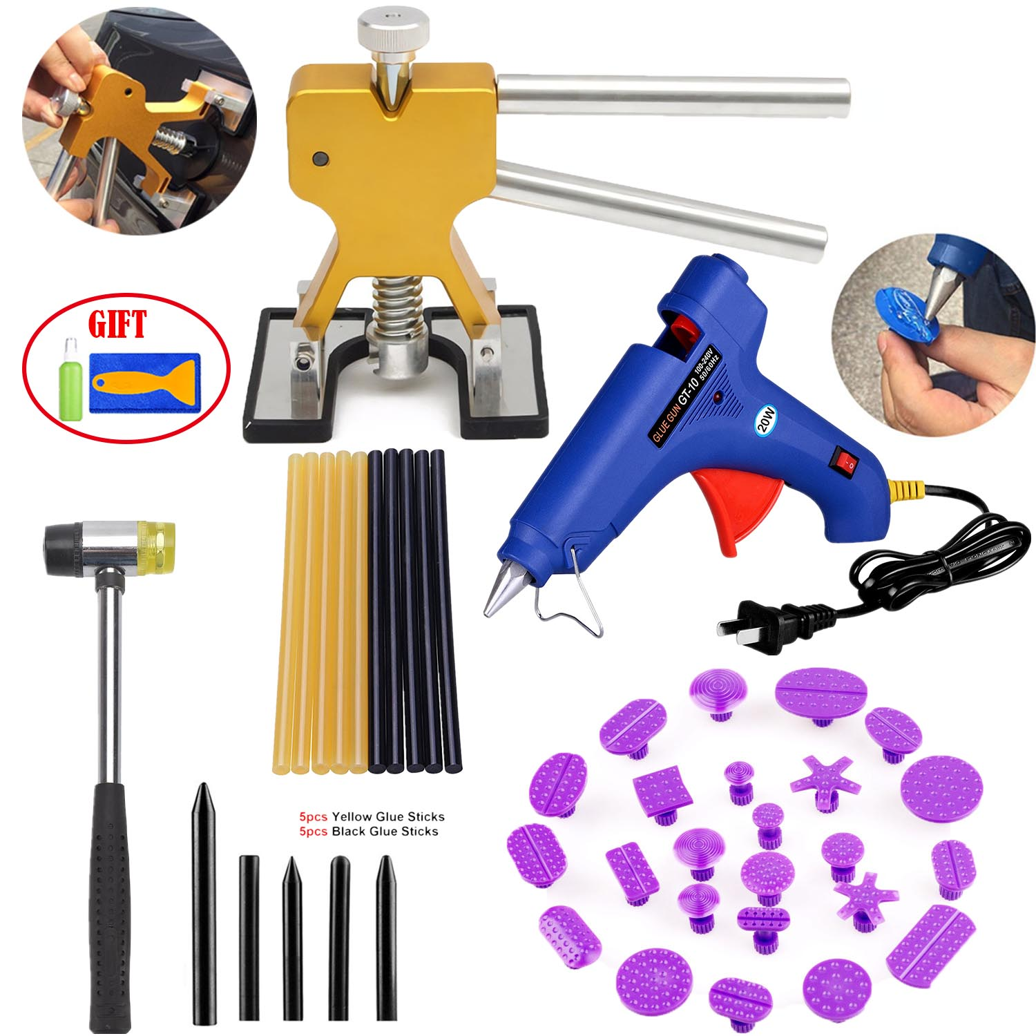 【Gifts for Him】Dent Repair Tools Paintless Dent Removal Kits Dent Lifter with Pulling Tabs Pro Hot Melt Glue Gun Tap Down Sets for Automobile Body Motorcycle