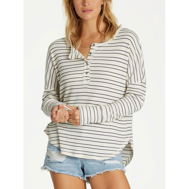 Billabong Any Day Long Sleeve Thermal Henley, Salt Crystal, Large