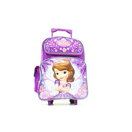 16 Inch Disney Sofia Rolling Backpack Travel Book Bag With Wheels