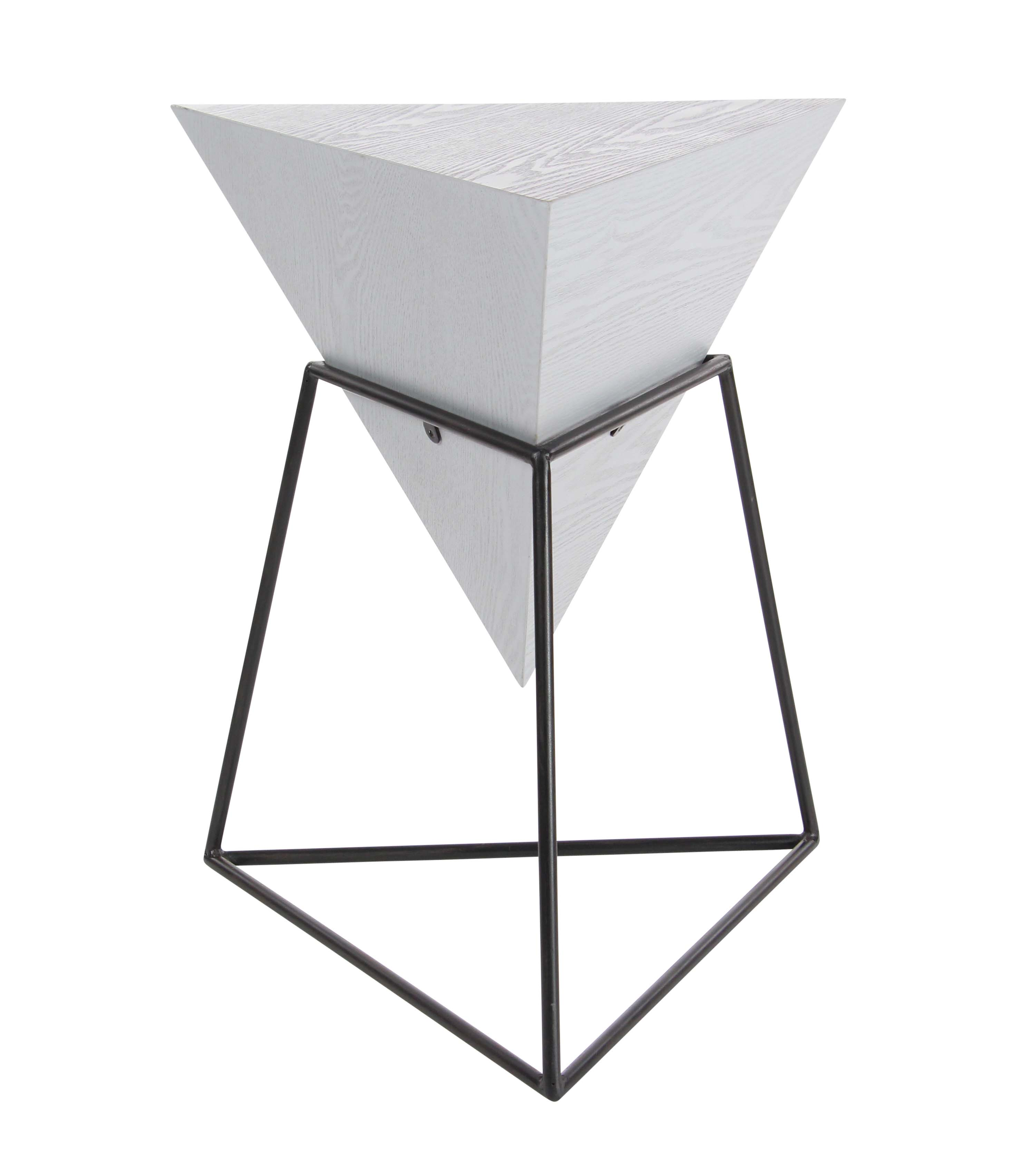 Decmode Modern 24 X 20 Inch Wood and Metal Triangle Accent Table, Gray by DecMode