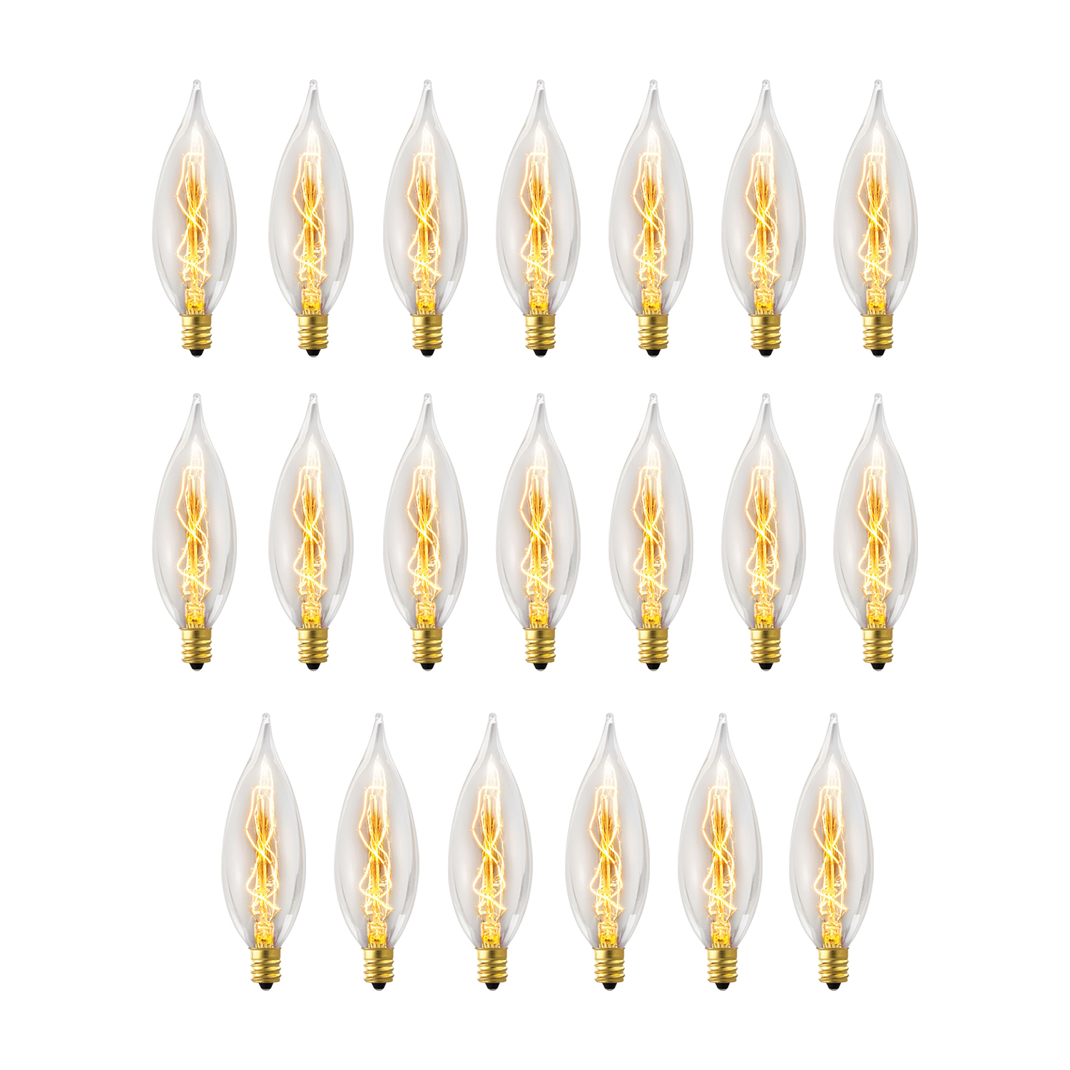 Globe Electric 25W Vintage Edison CA10 Flame Tip Incandescent Light Bulb (20-Pack), 84308