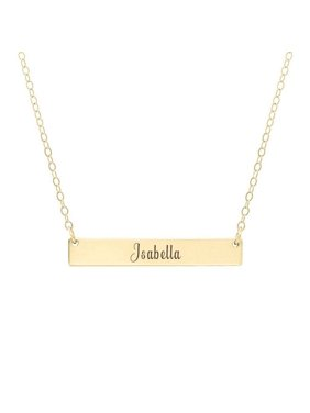 Personalized Valentine's Day Gift for Her Women's Stainless Steel Gold Horizontal Bar Name Necklace Engravable Gift for Wife Fiancee Free Jewelry Gift Box Ships Next Day
