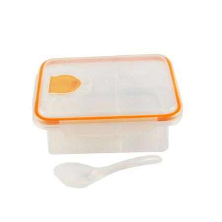 Unique Bargains Outdoor Picnic Orange Clear Plastic Hole Design Meal Lunch Pail Box w Spoon