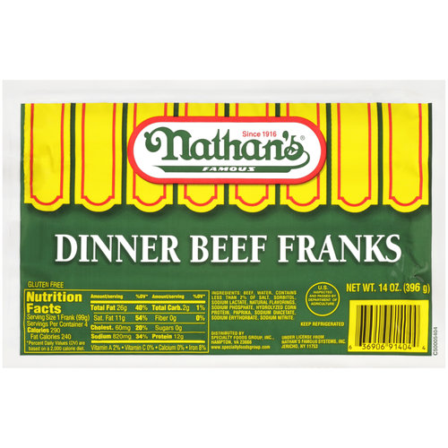 Nathan's Famous Dinner Beef Franks, 4ct