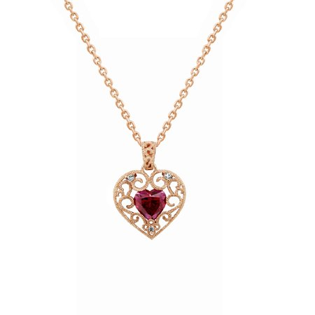 Gemour Rose Gold Plated Sterling Silver Swarovski Zirconia Red Open Heart Vintage Style Pendant Necklace