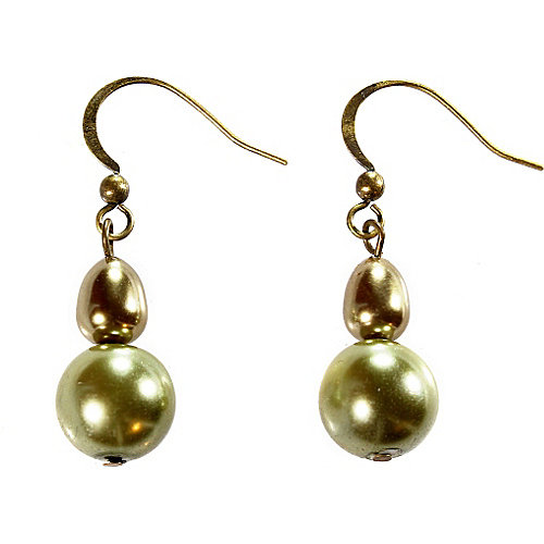 Alexa Starr 4772-EP-OLV Brown And Green Baroque Pearl Double Drop Earrings