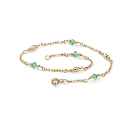 Palm Beach Jewelry Birthstone Beaded Ankle Bracelet In 14k Gold Over 925 Sterling Silver
