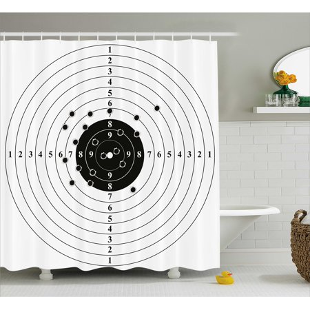 Black And White Shower Curtain Target Numbers Bullet Holes Shooting Polygon Gun Training Illustration Fabric Bathroom Set With Hooks 69W X 75L Inches