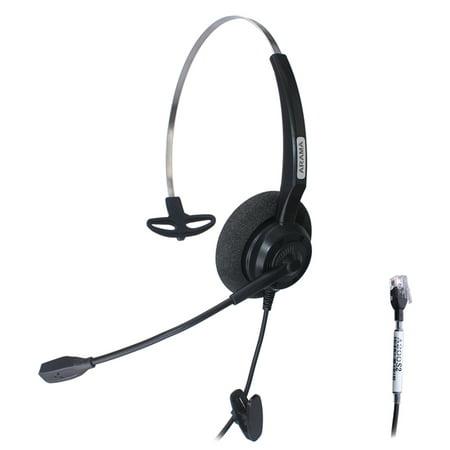 Arama Wired Headset Mono W  Noise Canceling Mic For Nec Aspire Dterm Nortel Norstar Meridian Plantronics Polycom Shoretel Siemens Rolm Toshiba Zultys Packet8 Landline Deskphones  A200s2