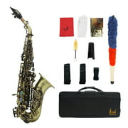 Vintage Style Bb Soprano Saxophone Sax Brass Material Woodwind Instrument with Carry Case Gloves Cleaning Cloth Brush Sax Strap Mouthpiece Brush