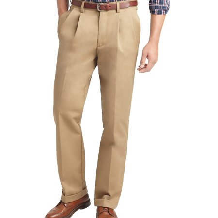 Double Pleated Trouser (IZOD NEW Beige Mens Size 32x30 Khakis Chinos Double Pleated Pants )