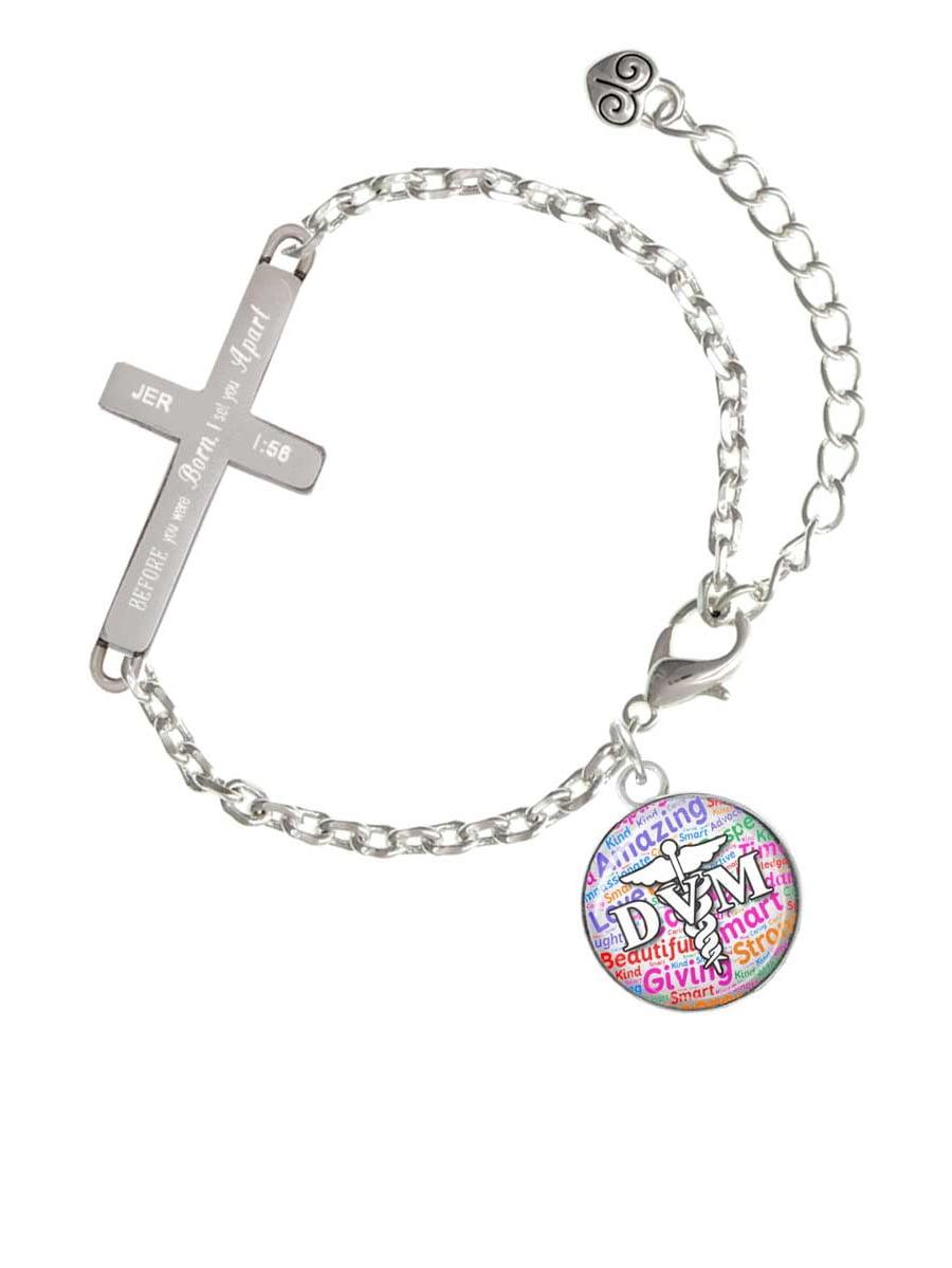 Silvertone Domed Black DVM - I Set You Apart - Cross Bracelet