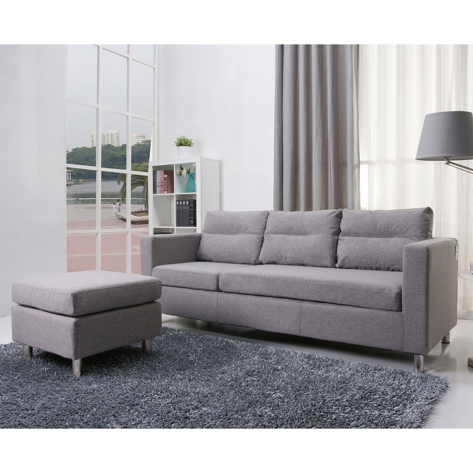 Gold Sparrow Detroit Convertible Sectional Sofa And Ottoman Set