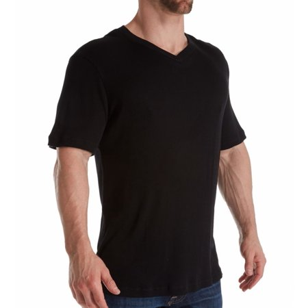Men's Magic Silk 2407 Silk Blend Ribbed V-Neck T-Shirt
