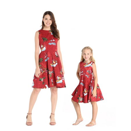 Matching Hawaiian Luau Mother Daughter Vintage Fit and Flare Dresses in Christmas Santa in Hawaii Red 2XL-6 - Vintage Luau