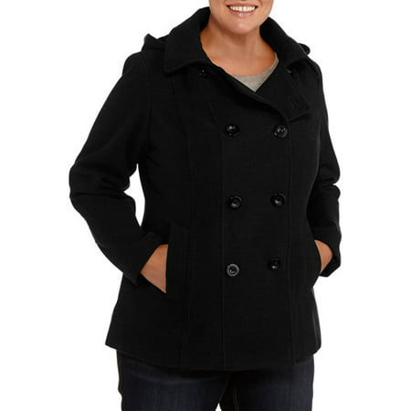 4e116ddb0de54 Faded Glory Women s Plus-Size Double-Breasted Faux Wool Peacoat With ...