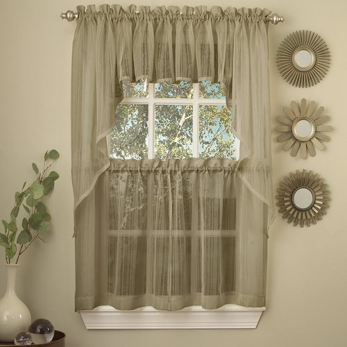 Sweet Home Collection Harmony Micro Stripe Semi Sheer Kitchen Curtain Swag (Set of 2)