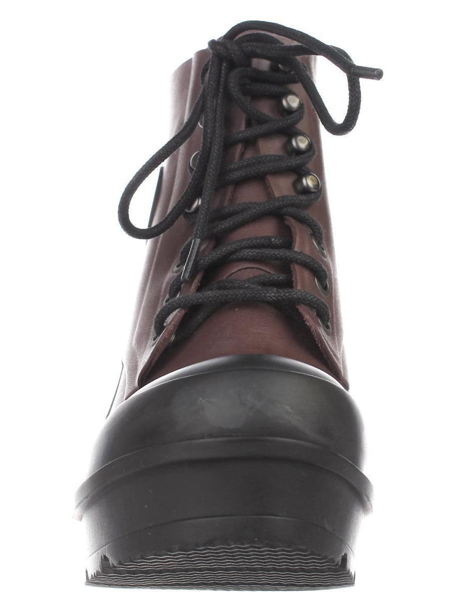 Womens Hunter Original Block Heel Lace Up Rainboots, Umber/Black