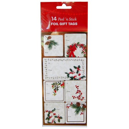 Christmas Foil Gift Tags Peel 'N Stick Pack OF 14
