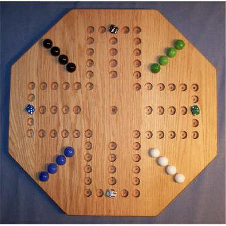 THE PUZZLE-MAN TOYS W-1939 Wooden Marble Game Board - Aggravation - 20 in. Octagon - 4-Player  6-Hole - Red Oak (Octagon Marble)