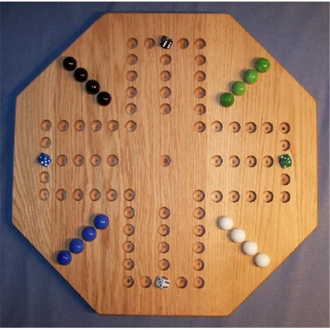 THE PUZZLE-MAN TOYS W-1939 Wooden Marble Game Board - Aggravation - 20 in. Octagon - 4-Player  6-Hole - Red Oak