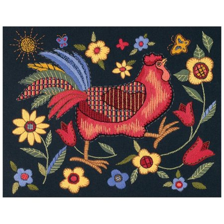 Dimensions Crewel Embroidery Kit Rooster On Black Printed Cotton 1543
