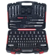 Stalwart 135-Piece Mechanic Tools Socket Set, 1/4, 3/8 and 1/2 Drive