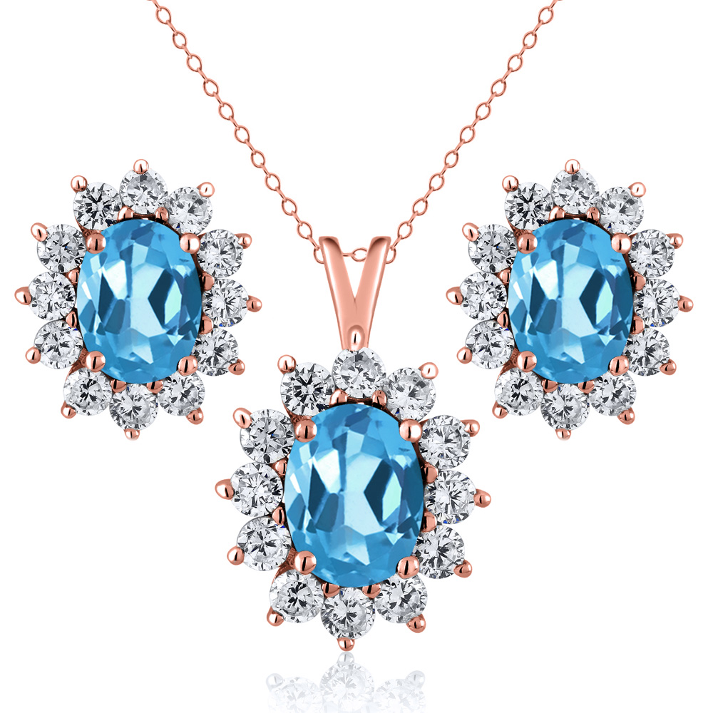 2.90 Ct Oval Swiss Blue Topaz 18K Rose Gold Plated Silver Pendant Earrings Set by