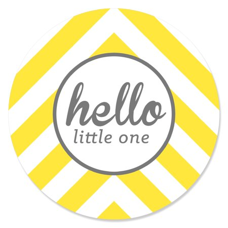 Hello Little One - Yellow and Gray - Neutral Baby Shower Party Circle Sticker Labels - 24 Count