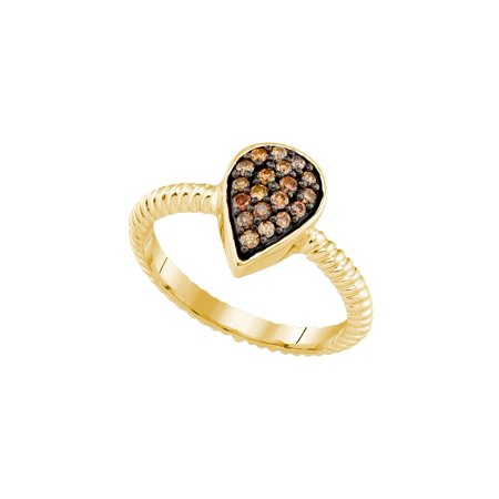 Size - 7 - Solid 10k Yellow Gold Round Chocolate Brown Diamond Engagement Ring OR Fashion Band Channel Set Pear Shaped Ring (1/5 cttw)