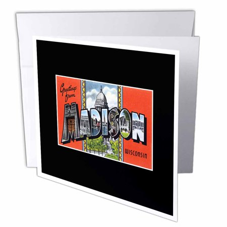 3dRose Greetings from Madison Wisconsin Scenic Postcard Reproduction, Greeting Cards, 6 x 6 inches, set of