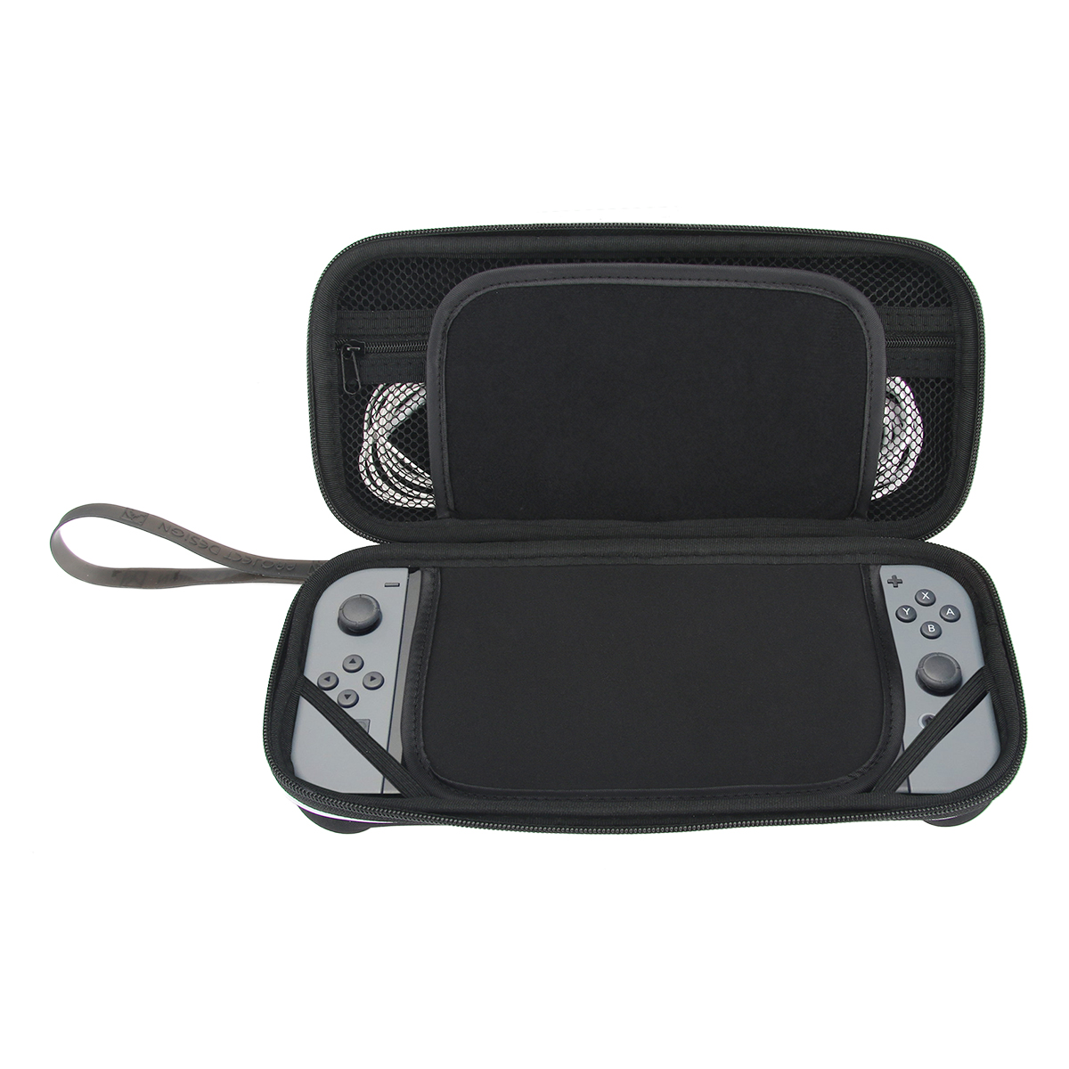 For Nintendo Switch Travel Carrying Case Game Console Zip Bag Protective Pouch with 8 Game Card Holder (Black)