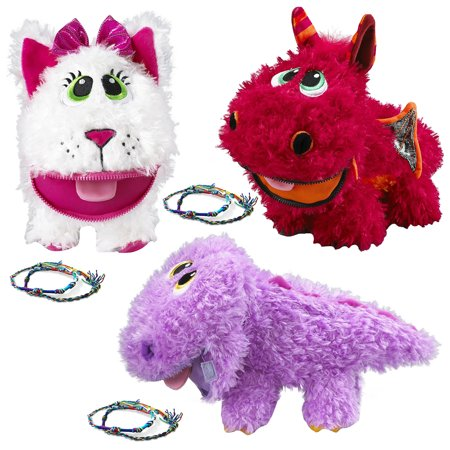 Baby Stuffies (3 Pack) Squishy Toys Plush Stuffed Animals with Friendship Bracelets and Storage For Toddler or Kids: Plush Dragon, Plush Dinosaur, Cat Plush Toy - Squishy Stores