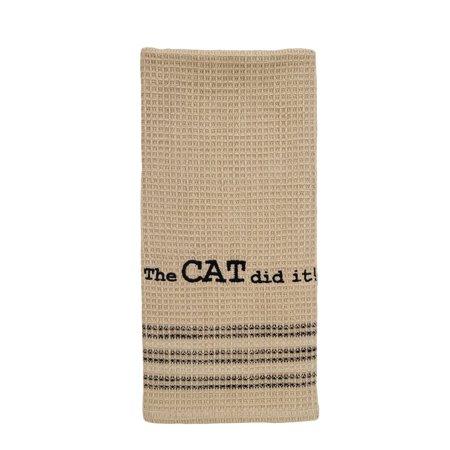Cat Dish Towels - The Cat Did It Dishtowel - Country Farmhouse Kitchen Funny Dish Towels